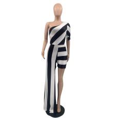 Black White Striped One Shoulder Irregular Jumpsuit QSF-51016