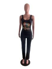 Fashion Casual Lip Print Jumpsuit BYMF-60019