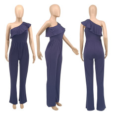 Sexy One Shoulder Ruffled One Piece Jumpsuit SMXF-9181