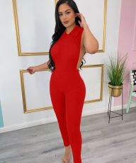 Sexy Solid Sleeveless Hollow Jumpsuit MIL-250