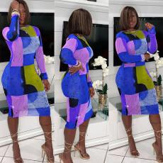 Plus Size Long Sleeve Mesh Print Sexy Dress WPF-8009