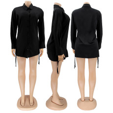 Black Long Sleeve Drawstring Shirt Dress SFY-2113