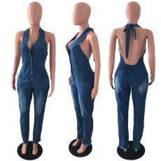 Plus Size Denim Halter Jeans Jumpsuit LX-6059