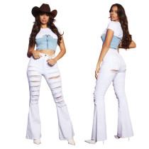 Plus Size Fashion Ripped High Waist Flared Denim Pants HSF-2477