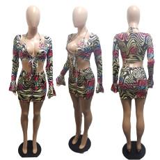 Plus Size Sexy Printed Bra+Crop Top+Mini Skirt 2 Piece Sets BLI-2380