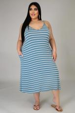 Plus Size Casual Striped Sleeveless Strap Midi Dress BMF-067