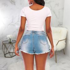 Plus Size Fashion All-match Bandage Denim Shorts HSF-2422