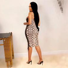 Snake Skin Print Lace-Up Bodycon Midi Dress BDF-6006