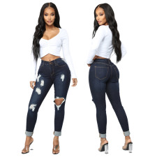 Fashion All-match High Waist Ripped Skinny Jeans HSF-2456