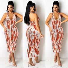 Sexy Printed V Neck Halter Midi Dress WMEF-20756