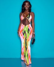 Plus Size Sexy Printed Halter One-Piece Jumpsuit OMMF-1170
