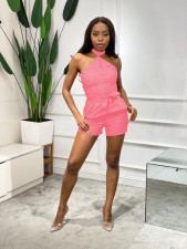 Sexy Solid Halter Sashes One Piece Romper ZNF-9085