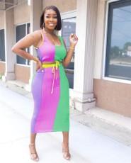 Contrast Color Sleeveless Drawstring Long Skirt 2 Piece Sets YWF-1851