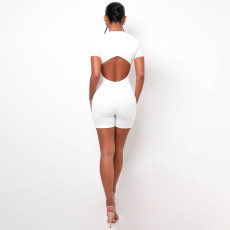 Sexy Backless Short Sleeve Romper CH-8182