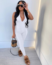 Sexy Ribbed V Neck Halter One-Piece Jumpsuit MIL-251