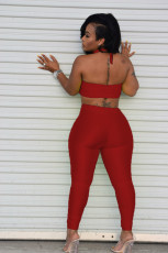 Sexy Solid Tube Top+Halter Jumpsuit 2 Piece Sets WSM-5256