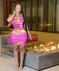 Fashion Printed Slim Dress MEM-88370