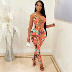 Sexy Printed Halter Hollow Jumpsuit NSFF-70021