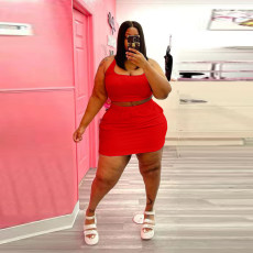 Plus Size Solid Color Vest Short Skirt Two Piece Sets WAF-77211