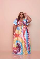 Plus Size Print Fashion Short Sleeve Long Skirt Two Piece Sets WAF-77216