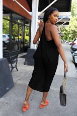 Plus Size Fashion Solid Color Irregular Ruffle Dress WAF-77210