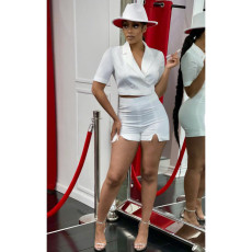 Elegant Solid Notched Collar Two Piece Shorts Set OMY-0031