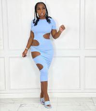 Sexy Solid Short Sleeve Hollow Out Bodycon Midi Dress YN-88803