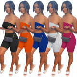 Solid Tube Top And Shorts Two Piece Suits ATDF-65002