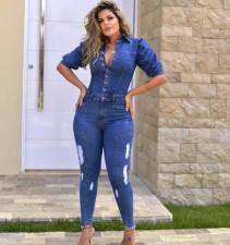 Plus Size Denim Ripped Puff Sleeve Jeans Jumpsuit LX-6882
