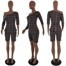Polka Dot Print Oblique Shoulder 2 Piece Shorts Set LP-6299