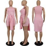 Solid Ribbed Split Long Top And Shorts 2 Piece Suits APLF-5075