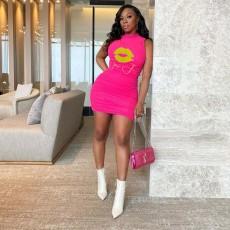 Fashion Print Sleeveless Mini Dress MXDF-6007