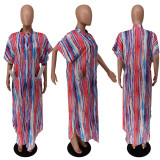 Casual Loose Printed Pocket Buttons Maxi Dress NLF-8076
