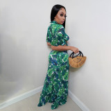 Sexy Printed Tie-Up Crop Top Long Skirt 2 Piece Sets TMF-80047