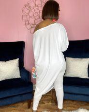 Solid Oblique Shoulder Irregular Top And Pants 2 Piece Sets OXF-8083
