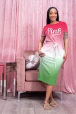Pink Letter Print Gradient Short Sleeve Midi Dress YYF-6603