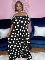 Plus Size Polka Dot Slash Neck Pocket Loose Maxi Dress QYF-5077