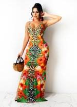 Floral Print Spaghetti Strap Hollow Maxi Dress ZNF-9097