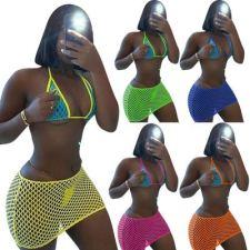 Sexy Hollow Out Bra Mini Skirt Beach 2 Piece Sets MEM-88376