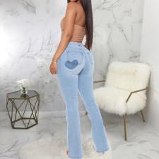 Plus Size Denim Flared Jeans Pants HSF-2533