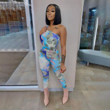 Sexy Printed One Shoulder Long Sleeve Jumpsuit NSFF-70035
