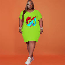 Plus Size Letter Print Short Sleeve Casual Dress NSFF-70038