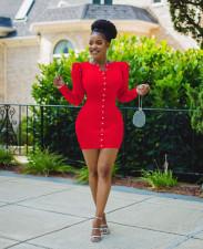 Plus Size Solid Long Sleeve Mini Dress OM-1257