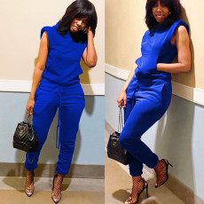 Solid Hooded Shoulder Pads Top And Pants 2 Piece Sets MAE-2114