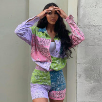 Casual Printed Long Sleeve Shirt And Shorts 2 Piece Suits GLF-10011