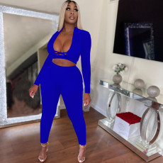 Solid Long Sleeve Two Piece Pants Set NLF-8078