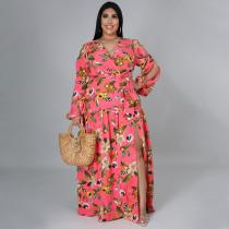 Plus Size Floral Print High Waist Big Swing Split Maxi Dress NNWF-7262