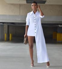 White Long Sleeve Irregular Shirt Dress KYF-3090
