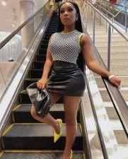 Black Leather Mid-Waist Mini Skirt BLI-2507