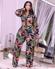Plus Size Printed Long Sleeve 2 Piece Pants Set YYGF-10820